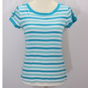 Talbots petite striped tee with button accents
